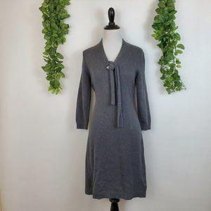 Banana Republic Gray Cotton Knit Tie Sweater Dress